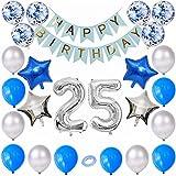 Kiwochy 25 cumpleaños decoración plata azul Niños cumpleaños Decoración globo Equipo 25 cumpleaños fiesta globo número 25 aluminio Globo Feliz Cumpleaños bandera para chicas Niños cumpleaños