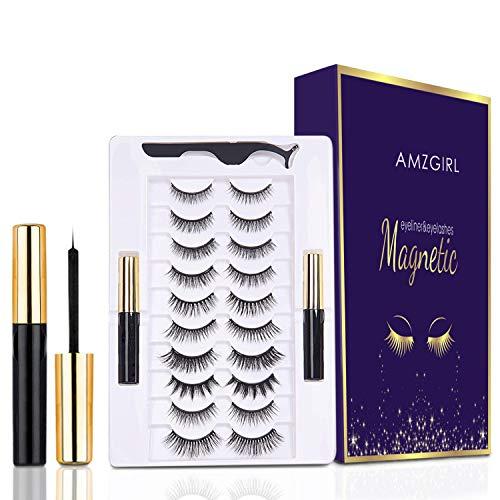 Magnetic Eyelashes with Eyeliner Kit, 10 Pairs Reusable Magnetic Eyelashes, Upgraded Natural Look False Lashes with Tweezers and Eyeliner - No Glue Needed