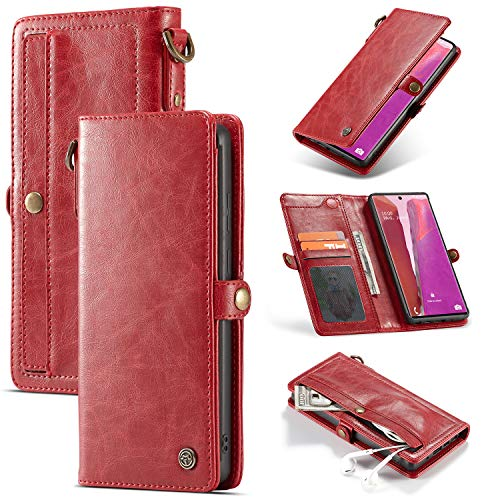 HTPOW-M para Samsung Galaxy Note 20, Estuche Tipo Billetera De Cuero Premium Retro 2 En 1 con Ranura para Tarjetero De 2 Capas, Cubierta Trasera Desmontable Llavero Cordón Rojo 0122T(Color:Rojo)