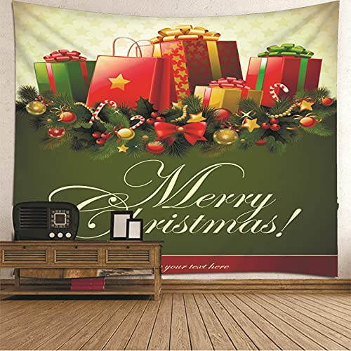 KnBoB Tapiz para Pared Cajas de Regalo Merry Christmas 350 x 256 CM Tejido Poliéster Impresión Digital Decoracion Salon Modernos
