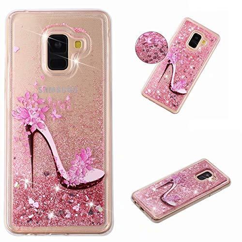 KSHOP Glitter Hoesje voor iPhone SE/5/5S, Pink high heels, Samsung Galaxy J6 2018