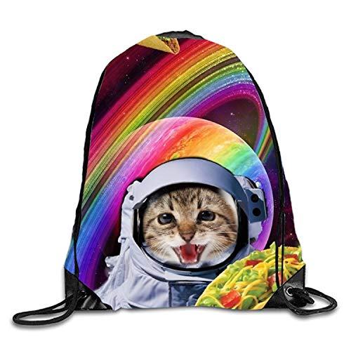 Lawenp Astronaut Kitty Sackpack Mochila con cordón Mochila Impermeable Gymsack Daypack para Hombres y Mujeres