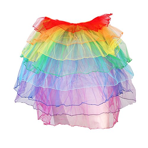 PIXNOR Long-Tail Rock treiben Rock Tutu Kleid (Regenbogen-Stil)