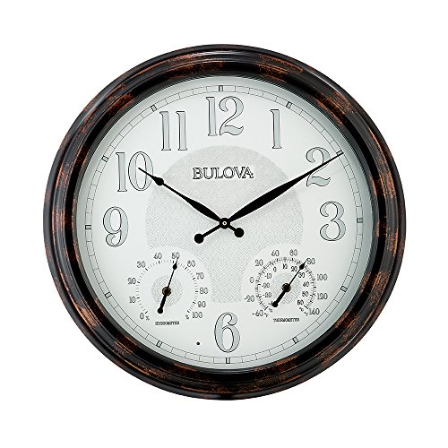 Bulova C4851 Weather Mate Lighted Dial Wall Clock, 22, Copper
