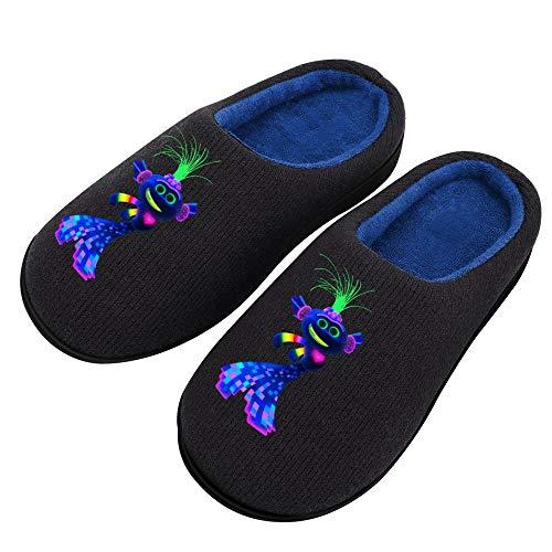 Pillow Socks Tro-lls Wor-ld To-ur Damen Gemütliche Atmungsaktive Baumwolle Hausschuhe mit Rutschfester TPR-Gummisohle Mode Casual Strickstoff Schuhe für Mädchen 11-12 (5-12 Größen)