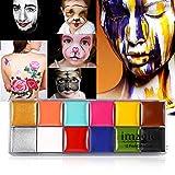 Pintura facial, 2 tipos IMAGIC 12 colores Body Flash Tattoo al óleo Pigmento Herramienta de maquillaje Paleta de artista de disfraces para Halloween Fiestas de maquillaje de Navidad Cosplay(#2)