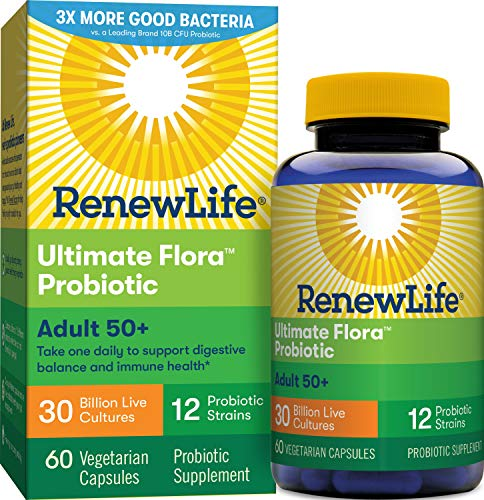 Renew Life Adult Probiotic - Ultimate Flora Adult 50+ Probiotic Supplement - Shelf Stable, Gluten, Dairy & Soy Free - 30 Billion CFU - 60 Vegetarian Capsules (Package May Vary)