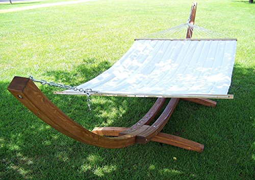 Petra Leisure, 14 Ft. Water Treated Wooden Arc Hammock Stand + Premium Quilted, Double Padded...