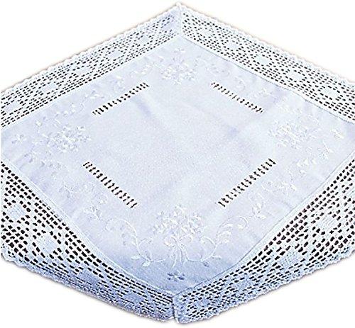 wunderschöne Tischdecke 60x60 cm Baumwolloptik Häkelspitze Weiß Bauerndecke Landhaus (Mitteldecke 60x60 cm)