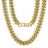 Cadena de Curb Cuban Collar Acero Inoxidable Chapado en Oro Amarillo 18K 14mm Anchura 18 Inch Longitud Estilo Hip Hop Hipoalergénico