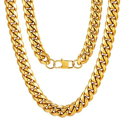 Cadena Curb Cuban Collar Acero Inoxidable Chapado