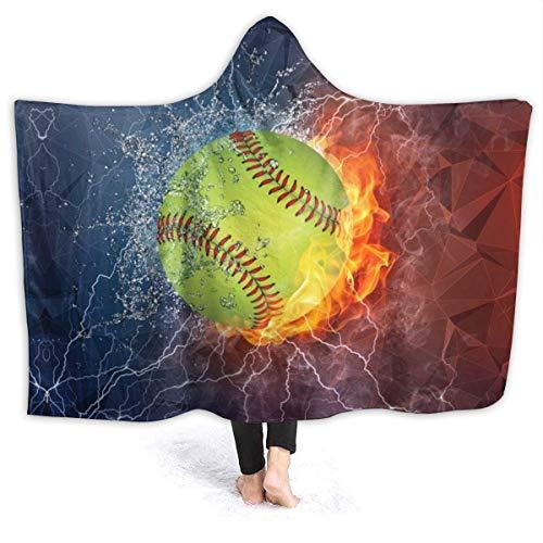 N \ B Manta con capucha para softball en el fuego y el agua, manta para sofá con capucha para bebés, niños, hombres, mujeres, 150 x 40 pulgadas