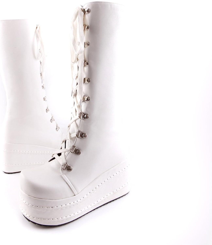 Lucksender Womens Fashion Round Toe Platform Lace Up Punk Style Comfort High Boots
