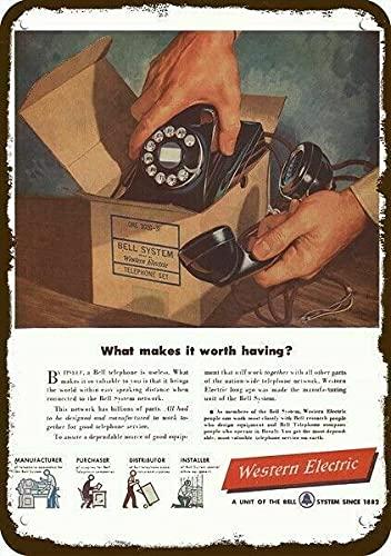 1949 Western Electric Bell teléfono rotativo vintage aspecto decorativo metal signo 8 x 12 en estaño 20 x 30 cm pintura de hierro pintura metal decoración