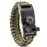 Steinbock7® braccialetto di sopravvivenza 16in 1, paracord, fischietto, pietra focaia, coltello, bussola, termometro, Multi Tool, Army-Grün, 23 cm