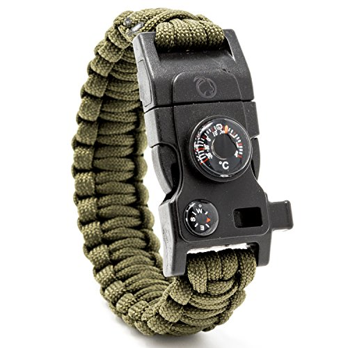 Steinbock7 Pulsera de supervivencia 16en 1, correa de Paracord, silbato, pedernal, cuchillo, brújula, termómetro, multiherramientas, Army-Grün, 23 cm