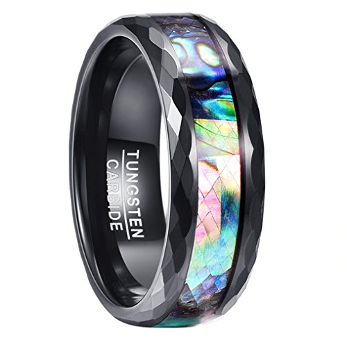 NUNCAD Ring Herren/Damen XXL schwarz 8mm breit, Wolfram Unisex Ring mit irisierter Abalone-Muschel Design, perfekt für Hochzeit, Verlobung, Hobby und Party, Größe 71 (31)
