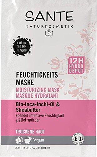 SANTE Naturkosmetik Vochtmasker, droge huid, intensieve vochtigheid, ontkreukt voelbaar, veganistisch, biologische extracten, 8 ml (2 x 4 ml pack)