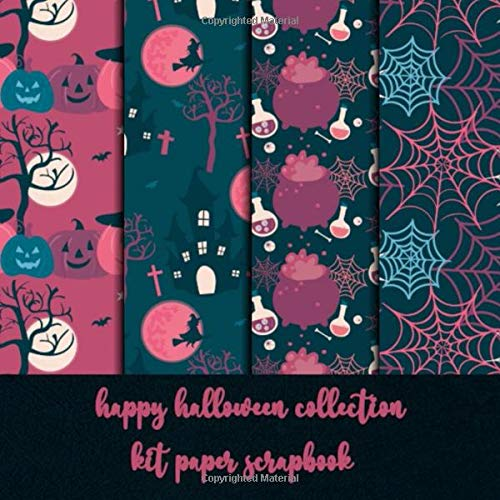 happy halloween collection kit paper scrapbook: patterned scrapbooking paper DIY craft - origami - decoupage - paper craft - collage art - kirigami - Decorative crafting Paper for Card Making