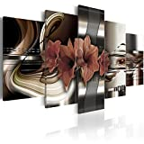 Konda Art - Red Floral Canvas Art Prints Wall Artwork 5 Panels Modern Flower Painting Decorations for Living Room Framed Ready to Hang (40'x20')