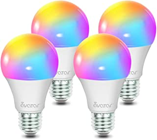 Smart Light Bulb, Alexa Bulbs WiFi LED Lighting 4 Pack Work with Smart Life App, Google Home, Avatar Controls RGBCW Color Changing Lights, No Hub Required (E26 A19 8W)