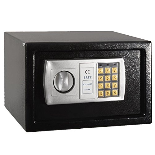 Safstar Security Safe Box with Keypad, 2 Manual Override Keys, Digital Safe for Home, Business, Travel, Protect Money, Jewelry and More, Compact Cabinet Safe, Steel Construction