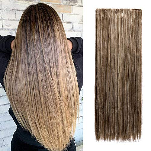 66cm-Clip in Extension Fascia Unica 5 clips Extension Clip Capelli Lisci 3/4 Full Head Extension Sintetiche Lunghe–Cenere Mix Marrone