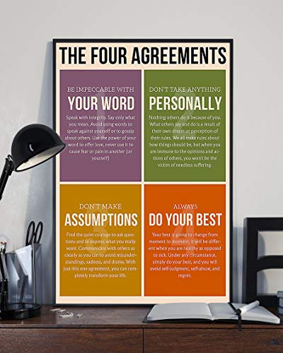Social Worker The Four Agreements - Wall Art & Wall Decor & Painting for College Dorm – Office Decor - Makeup Room Decor - Dorm Room Poster