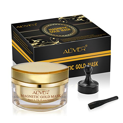 Magnetic Gold Maske Mineralreiche Gesichtsmaske Porenreinigung Entfernt Hautunreinheiten mit auf Eisen basierender Haut Revitalisierende Anti-Aging Maske für Männer und Frauen 50ml
