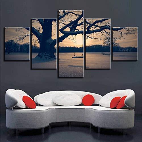 Canvas schilderij muurkunst 5 stuks hoge-resolutie wandschilderijen boom en schommel zonsopgang landschap schilderij modern canvas foto poster No Frame 30x40 30x60 30x80cm