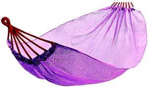 HEAGREN Camping Hammock Multipurpose Outdoor  Indoor  Beach  Garden  Camping Swing Bed Dormitory Swing 190cmX150cm hammock  Color Purple