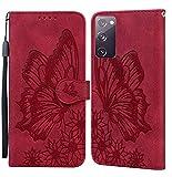 JRIANY Hülle für Samsung Galaxy S20 FE 5G Lederhülle Brieftasche Handyhülle mit Schmetterling Blume Muster PU Leder Tasche Hülle Klapphüllen Standfunktion Magnetverschluss Stoßfest Schutzhülle, Rot