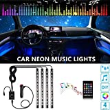 Car Interior Lights-OONOL Car LED Strip Light, 4pcs 48LED 8 Colors Flexible Music Light Kit with Sound Sensor and Remote Control, DC 12V, Car Charger
