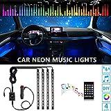 OONOL Car Interior Lights Car LED Strip Light, 4pcs 48LED 8 Colors Flexible Music Light Kit with Sound Sensor and Remote Control, DC 12V, Car Charger