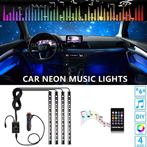 Car Interior Lights-OONOL Car LED Strip Light, 4pcs 48LED 8 Colors Flexible Music Light Kit with Sound Sensor and Remote Control, DC 12V, Car Charger