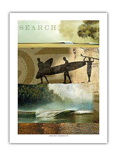 Pacifica Island Art - Surf Journal Entry 43 - Search for The Perfect Wave - Original Collage Art by Wade Koniakowsky - Premium 290gsm Giclée Art Print 18in x 24in