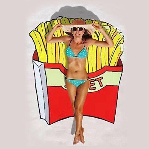 Baffect® Polyester 150 * 150cm Serviette de Plage Ronde Couverture de Plage Toile de Coton Circulaire Tapis de Pique-Nique de Serviette de Plage (Chips)