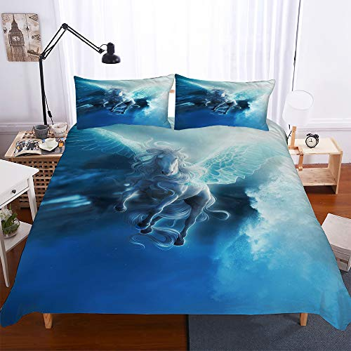 Simproude Duvet Cover Set Single 55x79 inch 3 pieces with 1 Pillowcases 20x30 inch angel 3D Printed Children Boys Girls bedding set with Zipper Closure Ultra Soft Quilt Cover Sets