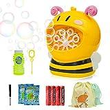 Morkka Portátil Máquina de Burbujas, Soplador de Pompas de Jabón Duradero, Divertida Forma de Abeja Shape para Niños y Adultos Fácil de Usar para Navidad Fiestas Barbacoa Boda (Bee)