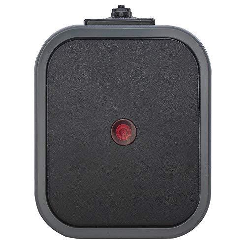 IP54 Aufputz Steckdose Schuko 1,2,3-fach Ein/Ausschalter Serienschalter Wechselschalter Taster Feuchtraum Grau-Schwarz (Taster mit Beleuchtung)
