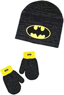 Batman Beanie and Mittens Set for 2T-5T ,Black