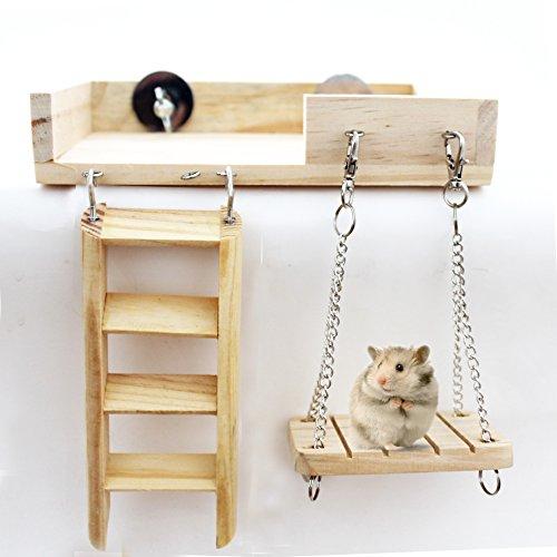 Aeonhumハムスターケージハムスターハウス天然木材通気組立式小動物ケージ飼育ケージ内装幅広いセット付き持ち手付きサイズ:47*30*30cm(セット)