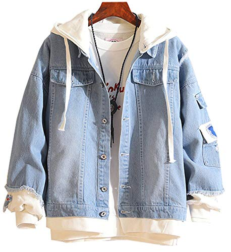 Mens Oversized Light Blue Denim Patches Jacket with Hoodie