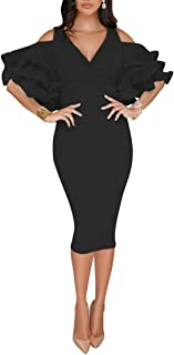 VERWIN Solid Flounced Sleeves Cold Shoulder V Neck Elegant Sexy Party Evening Midi Dress Bodycon Dress