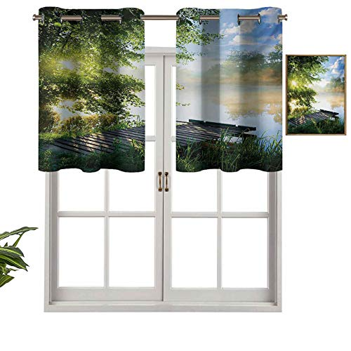 Hiiiman River in The Morning - Cenefas de cortina cortas, con aislamiento térmico, diseño de nubes y árboles, juego de 2, cenefas pequeñas de media ventana de 137 x 91 cm para dormitorio