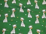 Baumwoll Jersey Giraffen mit Herzchen grasgrün Jerseystoff