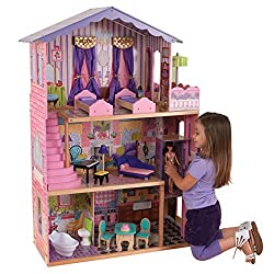 A DREAM MANSION - This intricate and interactive dolls house is a child's dream home offering 3 floors, 4 rooms, and a patio. This play set stands 125.98cm tall and is made from high-quality wood DESIGN YOUR OWN HOME - Let your child's creativity flo...