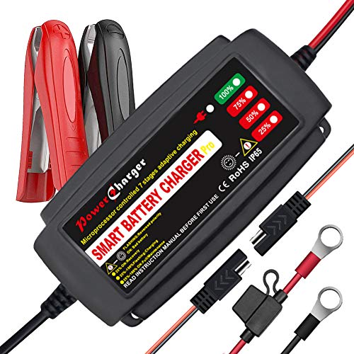 12V 5A Smart Car Battery Charger, Automatic Portable Battery Maintainer and Trickle Charger Fast Charging for Motorcycle Truck Marine Boat Lawn Mower SUV ATV RV SLA AGM GEL WET and More (black)