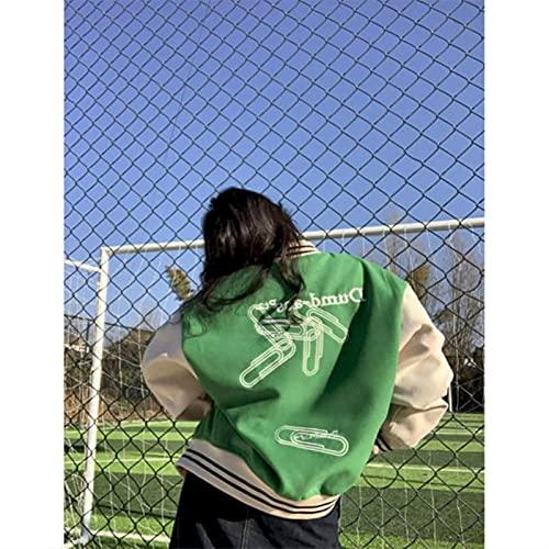 Yujun Bordado de la Letra para Hombre Bloques de béisbol Bloque de Color Vintage Harajuku Chaqueta de Bombardero 2021 Spring Oversized V-Cuello Abrigos Streetwear