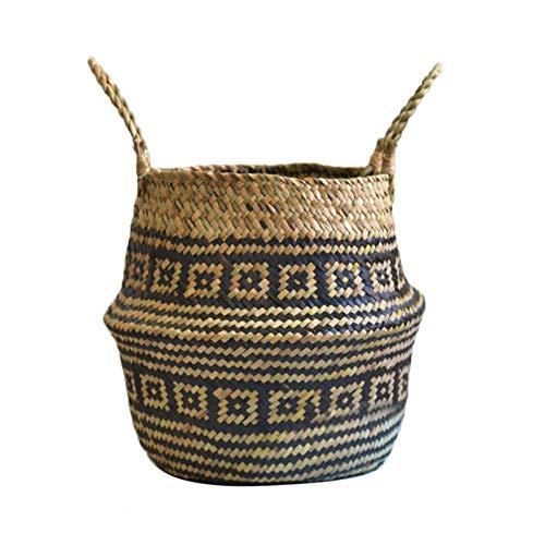Phrat Seegras Korb Haushalt Falten Doppelohr-Einkaufskorb für Helle Blumendekoration